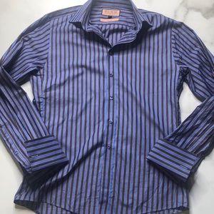 Thomas Pink Slim Fit Striped French Cuff Shirt